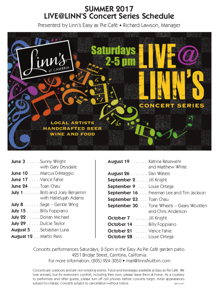 2017 Easy as Pie Live@Linns Concert Series Schedule - June 3rd through October 28th Saturdays 2-5pm