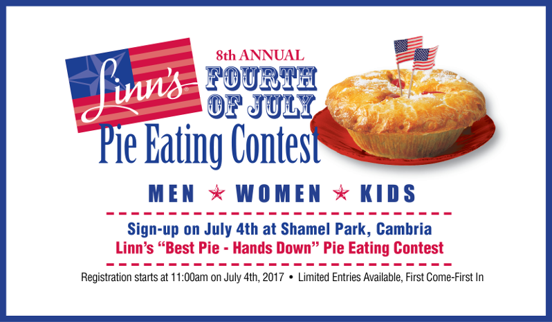 Mark your calendars - the eighth annual Linn's Fourth of July Pie Eating Contest!