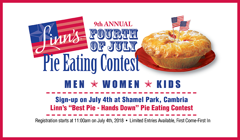 Mark your calendars - the ninth annual Linn's Fourth of July Pie Eating Contest!