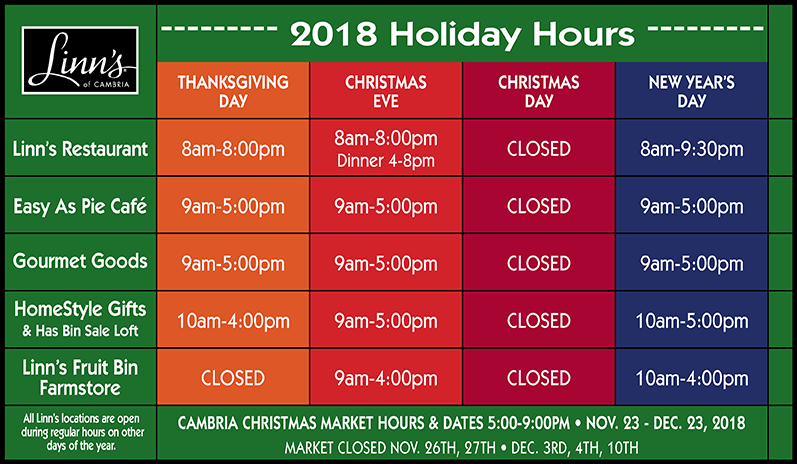 Linn's Holiday Hours