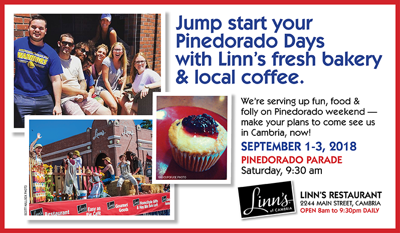 Jump start your Pinedorado Days with Linn's fresh bakery & local coffee.