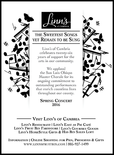 San Luis Obispo Master Chorale 2016 Spring Concert Print Ad