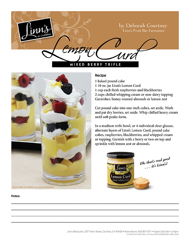 Lemon Curd Mixed Berry Trifle
