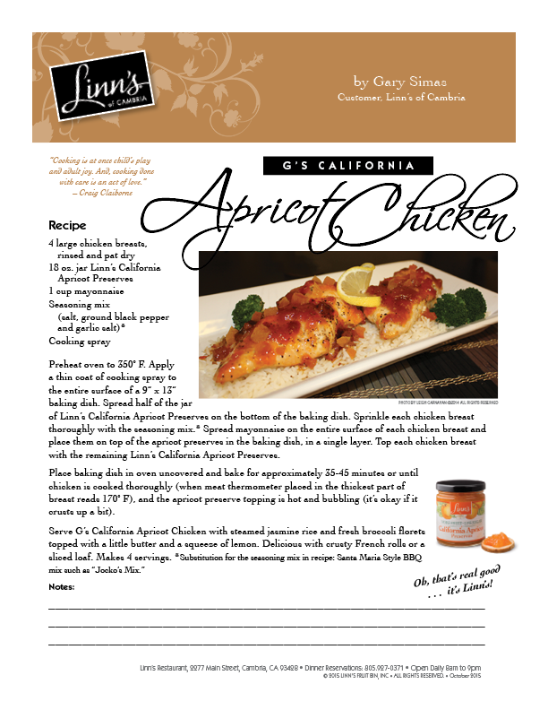 G's California Apricot Chicken